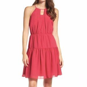 Chelsea28 Fit & Flare Pink Raspberry Keyhole Dress